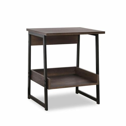 2-Tier End Table, Living Room Night Stand Wood Side Table with Storage 2
