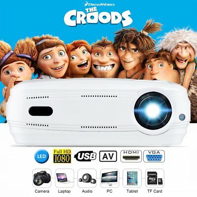 7000Lumens 1080P 3D 8G Android 6.0 LED Projector Home Cinema HDMI USB VGA White