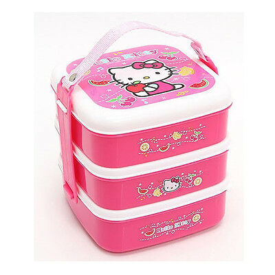 Hello Kitty Bento Lunch Box Food Storage Container Kids Picnic 3 Containers Set