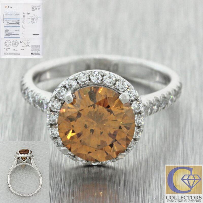 Modern Estate Platinum 2.17ct Gia Fancy Yellow Orange Halo Engagement Ring J8