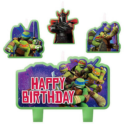 4 Piece Teenage Mutant Ninja Turtles Happy Birthday Cake Decoration Party - Tmnt Candles