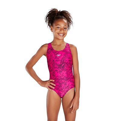 Speedo Boom Allover Splashback Swim Costume Practice Girls Swimsuit
