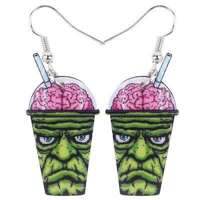 Acrylic Halloween Green Zombie Drink Earrings Fashion Jewelry For Women Girl New](Girl Zombie Halloween)