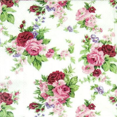 20x Lunch Paper Napkins Serviettes Party, Decoupage - Red Roses Antoinette