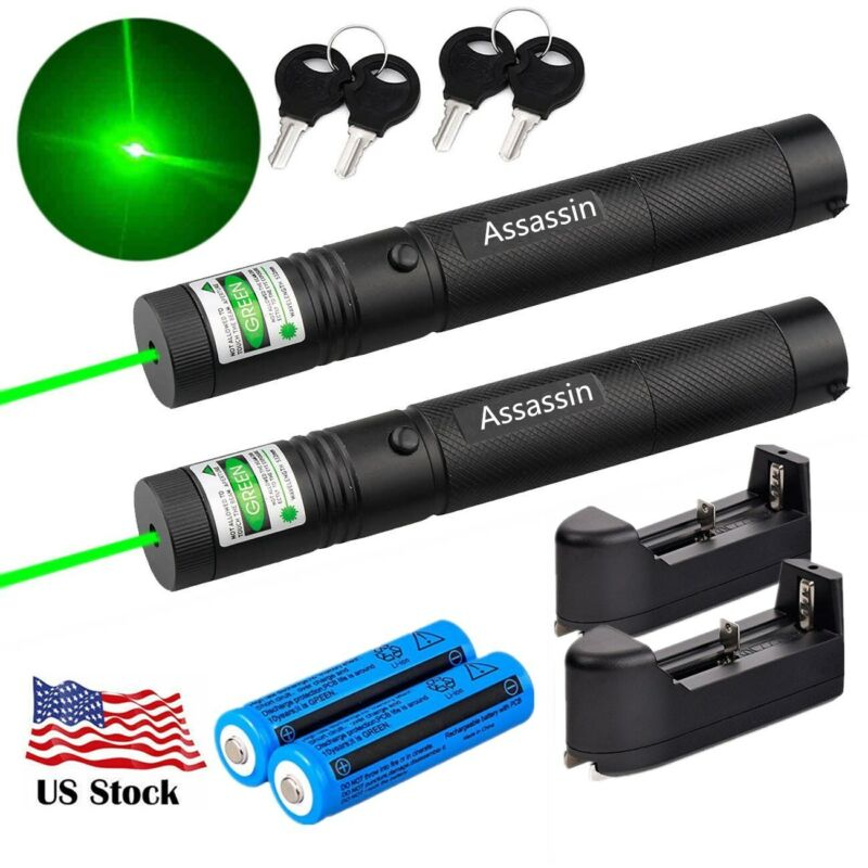 2Set Ultra Strong Green Laser Pointer Pen Assassin Lazer+18650Battery+Charger