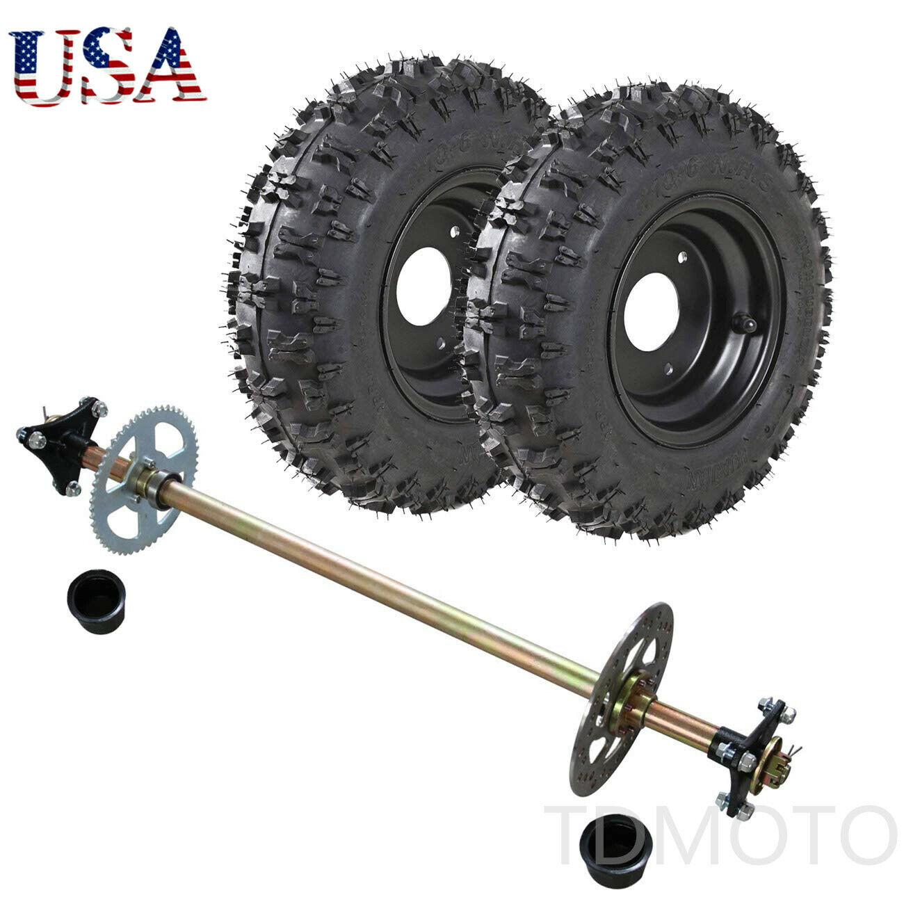 Go Kart Rear Axle Kit Hub Complete Wheels 4 10