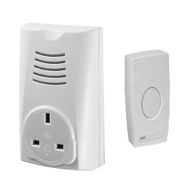 Wireless Cordless Plug In Through Socket 16 Melody Door Bell Doorbell White