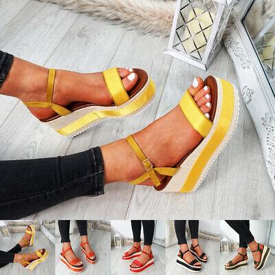 WOMENS LADIES PLATFORM FLATFORMS SANDALS ANKLE STRAP PEEP TOE HEELS SHOES SIZE Ankle Strap Peep Toe Heels