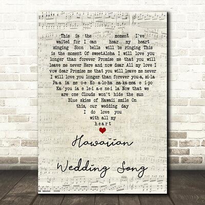 Hawaiian Wedding Song Script Heart Song Lyric Quote Print - Wedding Script