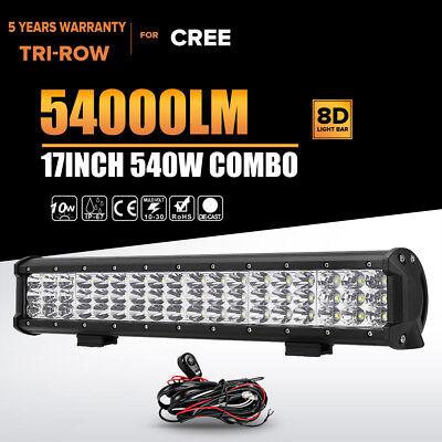 "17"" 540W TRI-ROW CREE LED WORK LIGHT LAMP BAR SPOT FLOOD DRIVING OFFROAD ATV UTV"