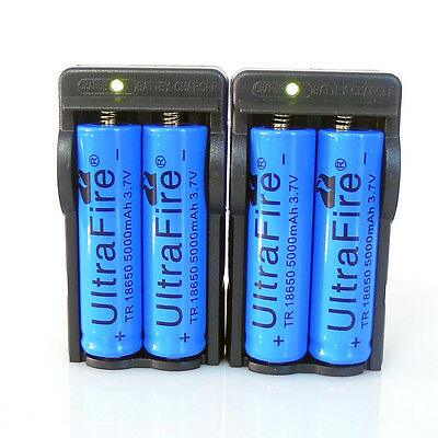 4PC UltraFire 18650 3.7v 5000mAH Rechargeable Li-ion Battery + Charger From USA on Rummage