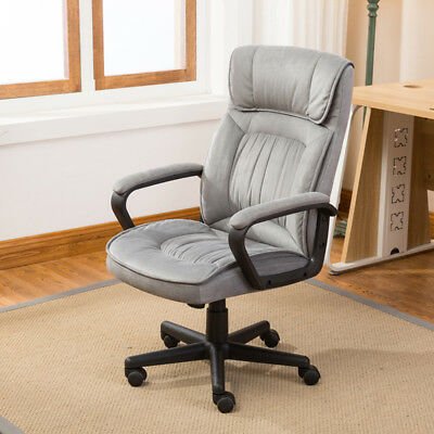 Executive Office Chair Lumber Support Computer Desk Padded Microfiber Gray