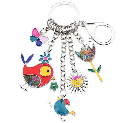 Enamel Alloy Bird Sun Flower Butterfly Car Key Chains Ring Women bag Charms - Bird Keychain