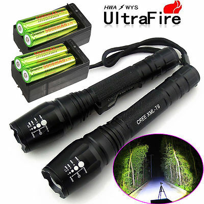 2X Police 12000 Lumens Led Flashlight 18650 Cree T6 XML Torch +Battery +Charger