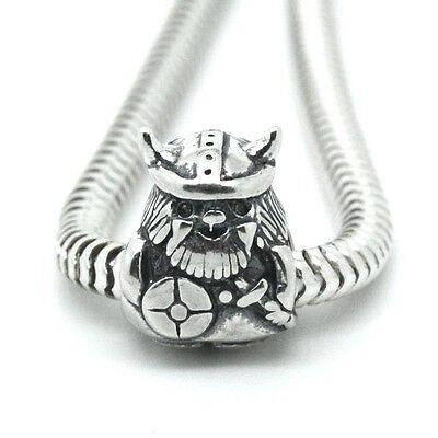 VIKING WARRIOR w. Sword & Helmet- Solid 925 Sterling silver European charm bead