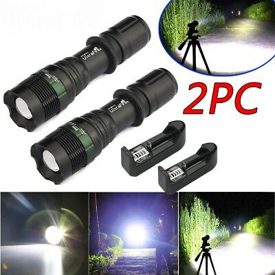 2x Ultrafire Tactical 15000LM Zoomable T6 LED Waterproof Flashlight Torch Light
