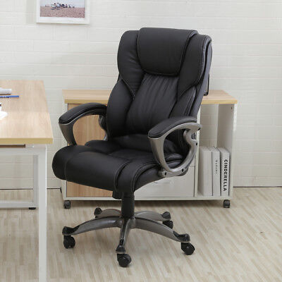 Black PU Leather High Back Office Chair Executive Task Ergonomic Computer Desk Black Leather Executive Chair
