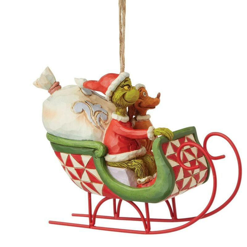Grinch by Jim Shore, Grinch and Max in Sleigh Hanging Ornament, New/Box, 6008895