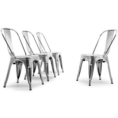 Set of (4) Side Chair Dining Bistro Metal Stackable Set High Back Rest, Gunmetal ()