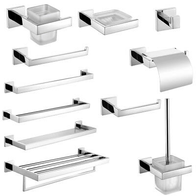 Modern Square SUS304 Polished Chrome Bathroom Accessory Set Towel Bar Wall Mount