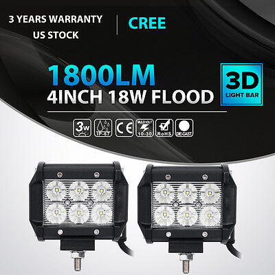 2x 4INCH 18W CREE LED Work Light Bar Flood Offroad Fog Lamp 4WD SUV Pickup ATV