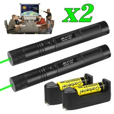 2x Green Laser Pointer Pen 1mw 532nm High Power Beam Lightbatterychargerkeys