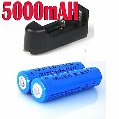 2X 18650 Rechargeable BRC 3.7V Li-ion Battery 5000mah Cell + Recharge Charger