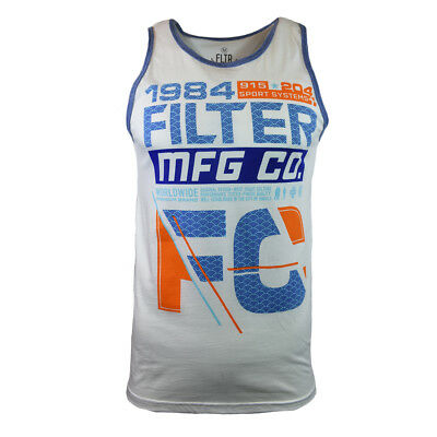 Filter Men's Graphic Printed Athletic Tank Top, White -