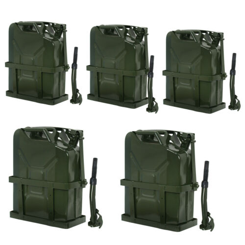 5x Jerry Can Fuel Tank w/ Holder Steel 5Gallon 20L Army Backup Military Green Business & Industrial