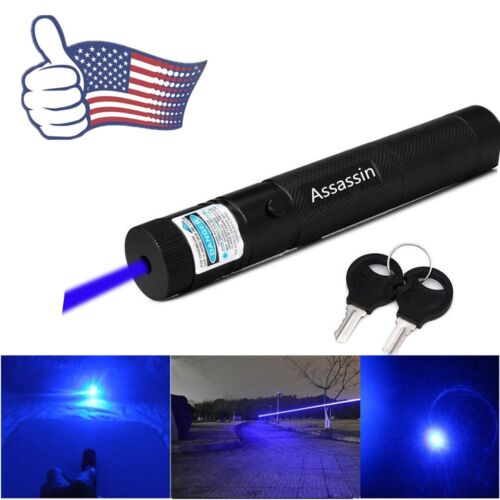 Blue Purple Laser Pointer Pen 50Mile 405nm Adjustable Mini Pet Toy Funny Lazer