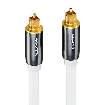 Toslink HQ deleyCON 2m - Optisches Audiokabel mit Metallstecker 5mm - Weiß