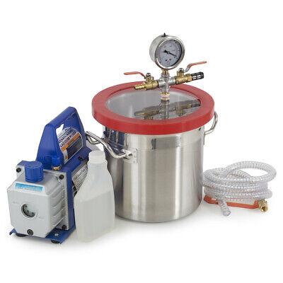 2 Gallons Vacuum Chamber Silicone Degassing Expoxy W 13hp 4 Cfm Vacuum Pump
