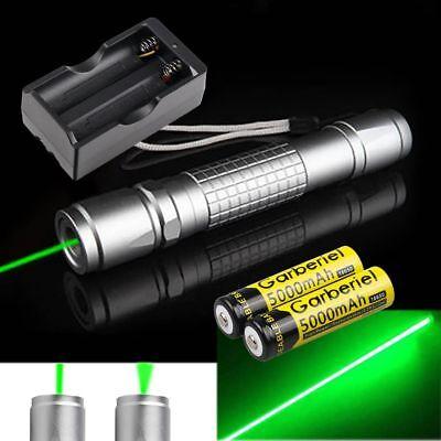 532nm 1mW 100 Miles Green Laser Pointer Pen Power Beam Light Lazer+Charger+18650