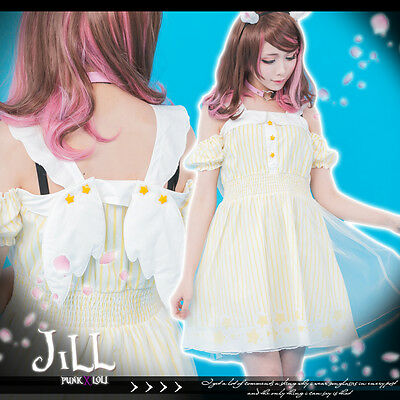 lolita anime comet madoka magic star fairy wings boat neck striped dress J1K5005