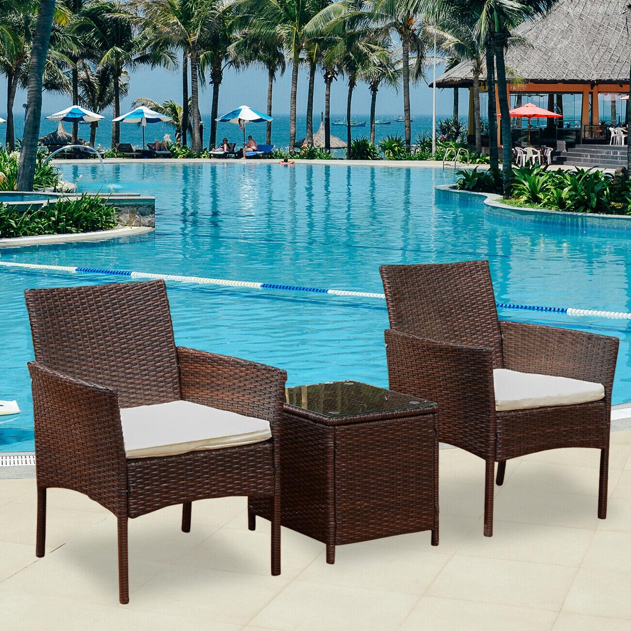 Garden Furniture - Rattan Garden Furniture Set 3 Piece Chairs Sofa Table Outdoor Patio Set Brown