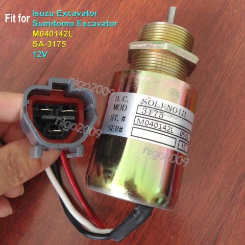 SA-3175-12 Fuel Shutoff Solenoid Valve M040142L 12V for Isuzu Sumitomo Excavator