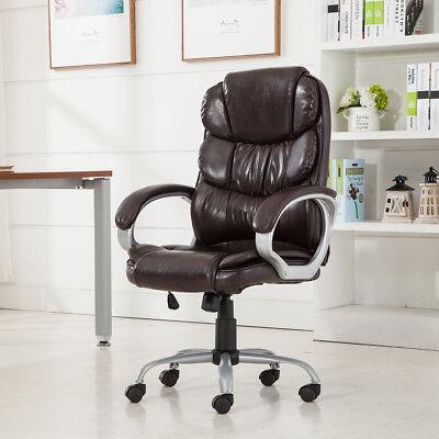 Mocha Pu Leather High Back Office Chair Executive Task Ergonomic Computer Desk