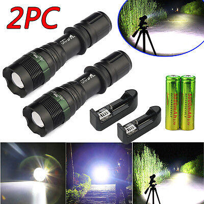 2 Sets 8000Lumen Tactical T6 LED Torch Flashlight Zoomable 18650 Battery&Charger