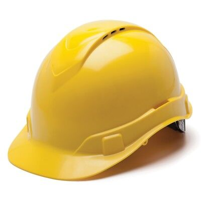 Pyramex Vented Cap Style Hard Hat With 4 Point Ratchet Suspension Yellow