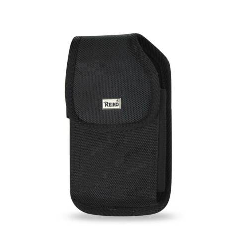 Rugged Black Nylon Metal Clip Case fits Alcatel Quick Flip phone