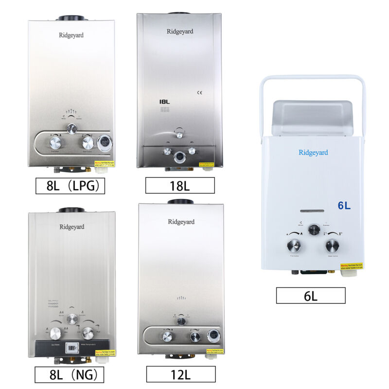 LPG/NG 1.6/2/3.2/5GPM Hot Water Heater Tankless Boiler w/ Sh