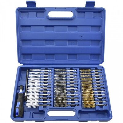 "38pc Industrial Wire Brush Set | 1/4"" Hex Shank Long Extension Stainless Steel"
