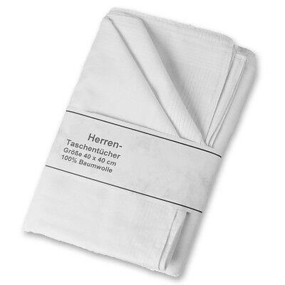 24 Herren Stoff Taschentücher weiss mit Satin Kante 40 x 40 cm 100% Baumwolle