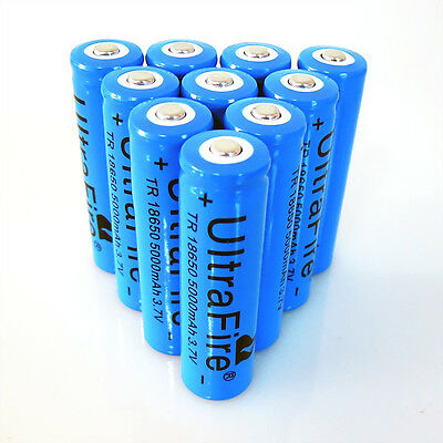10PCS Deep Blue UltraFire 18650 Rechargeable Battery 5000mah 3.7v Li-ion Battery on Rummage