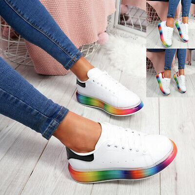 WOMENS LADIES LACE UP PLATFORM TRAINERS RAINBOW HEEL SNEAKERS WOMEN SHOES SIZE