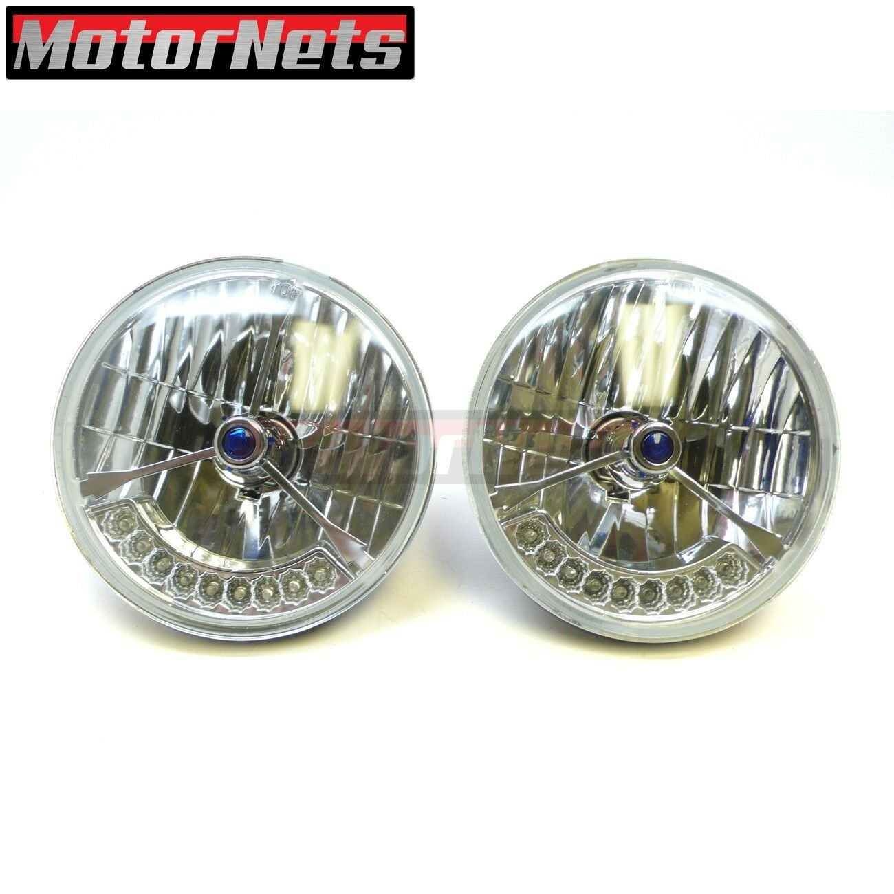 """Snake-Eye 7/"""" Inch Halogen Lens Assembly with H4 Bulb /& Amber Turn Signal ~ Pair"""