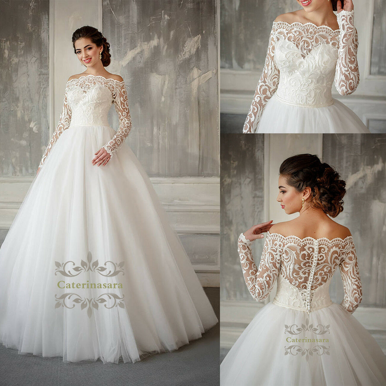 details about custom made lace ball wedding dress illusion long sleeves  pregnant bridal gown