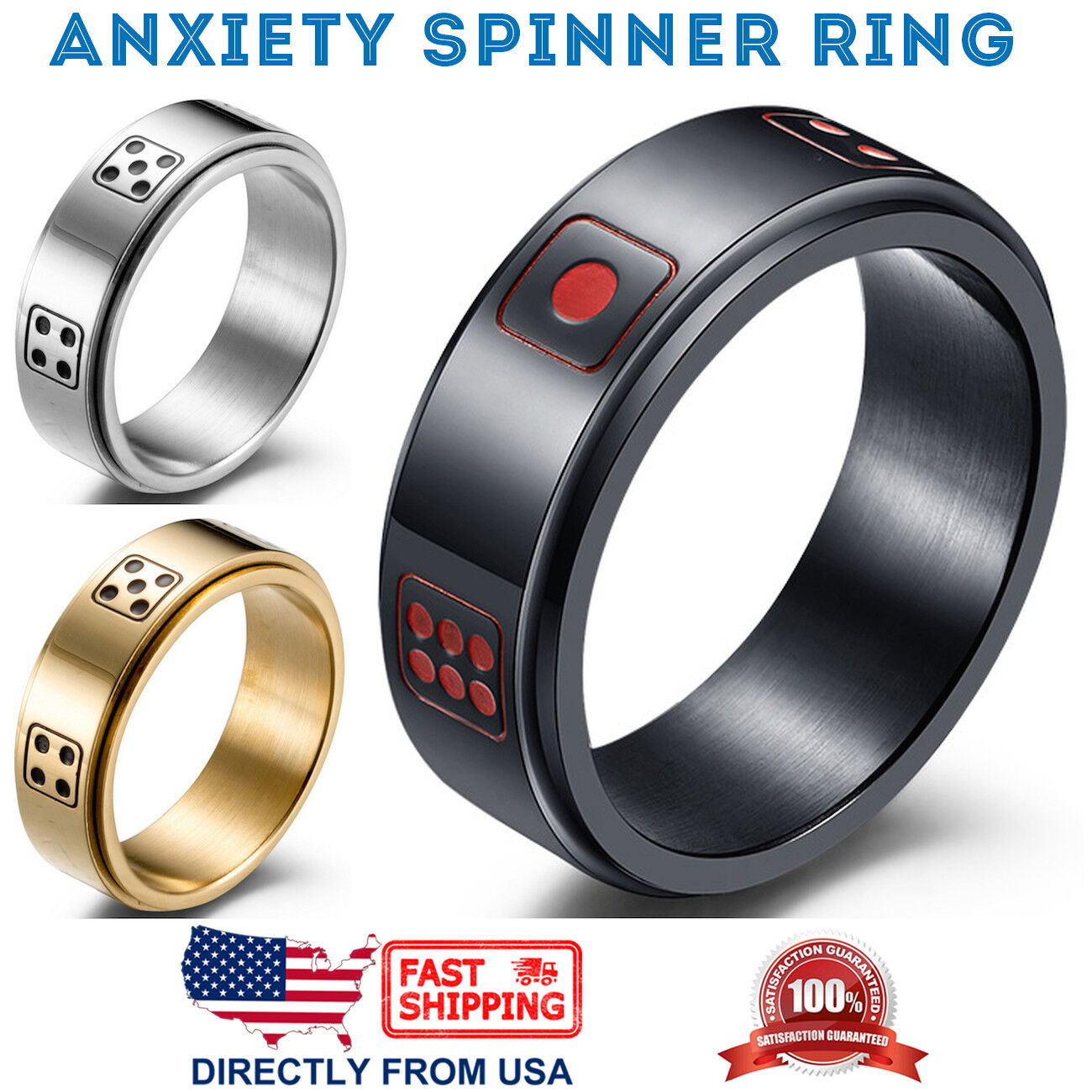 Men's Stainless Steel Wedding Band 8mm Dice Anxiety Spinner Ring Jewelry & Watches