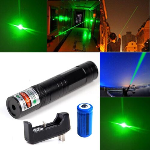 Green Laser Pointer Pen 532nm Visible Beam Rechargeable 16340 Battery Charger