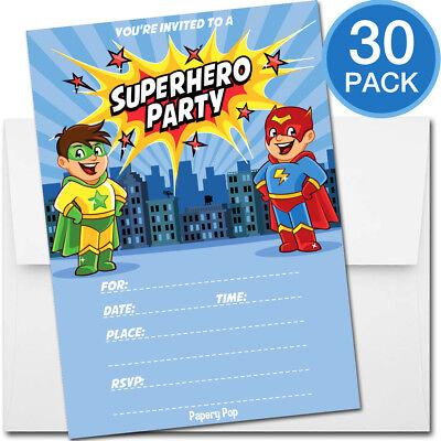 30 Superhero Birthday Invitations with Envelopes - Kids Birthday Party Boy](Superhero Invitations)
